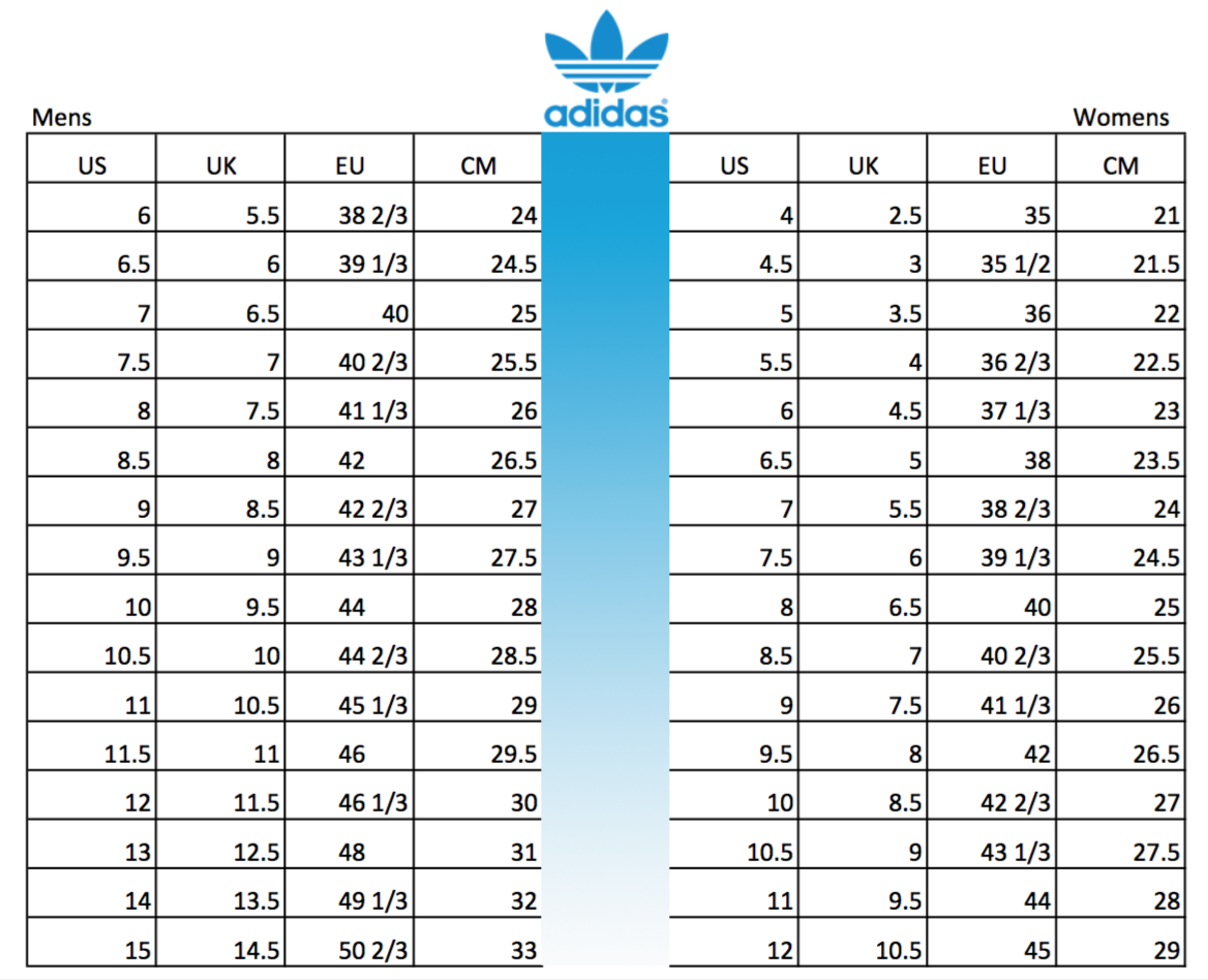 Image result for adidas mens shoes size chart