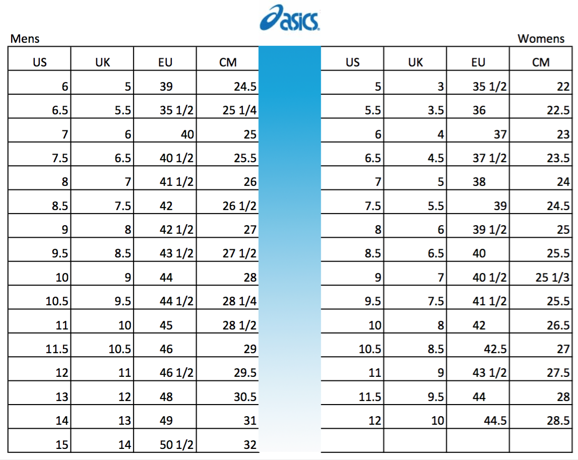 Asics Shoe Conversion Size Chart