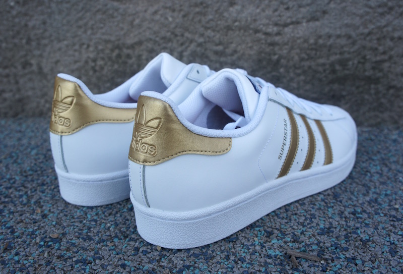 Adidas Superstar White And Gold Stripes